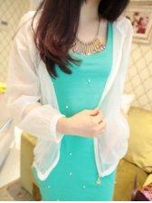 Korean Style Zipper Pure Color Long Sleeve Short Coat