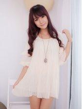 Sweetie Style Pure Color Half Sleeve Chiffon Dress