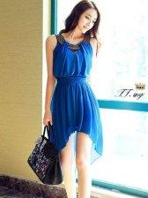 Charming Lady Asymmetrical Hem Studded Round Collar Dress