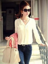 New Spring V-neck Double Pockets Long Sleeve Chiffon Blouse