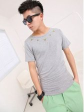 Newest Simplicity Exquisite Embroidery Round Neck Gray Short Sleeve Tee