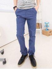 Newest Solid Color One Button Closure Denim Blue Long pants
