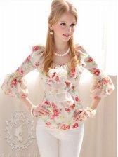 Hot Summer Floral Print Flounced Long Sleeve Blouse