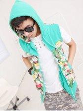 Hot Sale Hooded Zipper Cartoon Patterns Green Sleeveless Coats