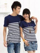 New Fashion Stripes Round Collar Short Sleeve Couple Tee