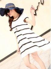 Modern Pregnant Women Striped Asymmetrical Hem Chiffon White  Dress