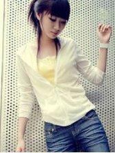 Modern Summer Pure Color Zipper White Hooded Short Coat