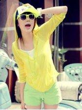 Korean Summer Pure Color Zipper Yellow Hooded Short Coat