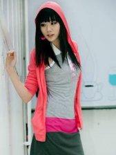 Summer Fashion Pure Color Zipper Rose Hooded Short Coat