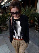 Chic Women's Stand Collar Slim Short Coat With Epaulet