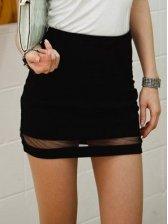Sexy Women Gauze Splice Wrap Short Mini Skirt