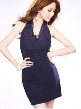 Sexy Summer Hemp And Chiffon Patch Blue Halter  Dress