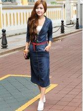 Fresh Style V-neck Side Pockets Fitted Denim Maxi Dress