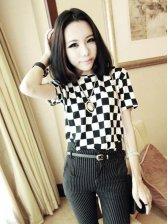 Hot Fashion Color Block Short Sleeve T-shirt