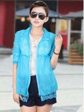 New Fashion Turn Collar Lace Edge Pure Color Short Coat