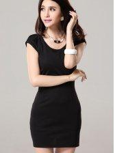 Korean Fashion Solid Color Short Sleeve Black Dress