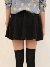New Arrival Empire Waist Black Cotton Skirt