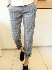 Brand New Check Pattern Cotton Gray Long Pants