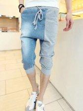 Korean Pulling Ropes Color Block Denim Three-quarter Pants