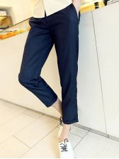 Korean Solid Color Cotton Dark Blue Long Pants