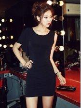 Korean Fashion Pleated Wrap Asymmetrical Mini Dress