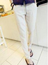 Spring Men Striped Drawstring Waist Apricot Long Pants