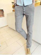 Brand New Striped Drawstring Waist Hemp Long Pants