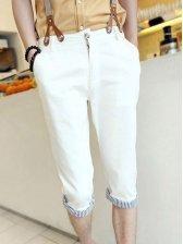 Modern Striped Patch Zipper Three-quarter Cotton Pants With Belt