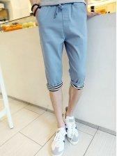 Summer Fashion Men Drawstring Casual Cropped Pants