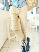 Korean Single Breasted Pulling Ropes Khaki Long Pants