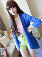 Korean Style Pure Color Asymmetrical Hem Half Sleeve Coat