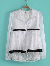 Cute Girl Puff Sleeve Zipper Short Coat