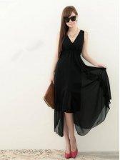 New Summer Fashion V-neck Chiffon Black Maxi Dress