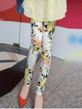 Romantic Spring Floral Printed Yellow Leggings