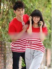 Summer Style Round Neck Stripe Couple T-shirt