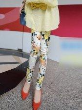 Spring Trendy Floral Zipper Stretchy Leggings