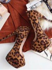 New Fashion Leopard Round Toe Thin Heels Pumps