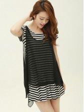 Vogued Lady Stripes Mock Two-piece Short Sleeve Dress