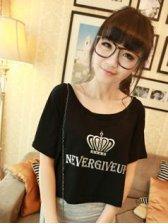 Hot Sale Round Neck Fashion Crown Printing Short Sleeve T-shirts