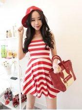 Sweet Girls Stripes Hem Strapless Dress