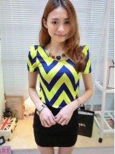 New Fashion Wave Pattern Round Collar Short Sleeve Tee