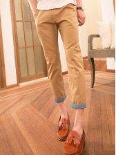 Modern Fashion Single Button Causal Cotton Pants
