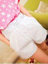 Summer Elastic Waist White Short Pants