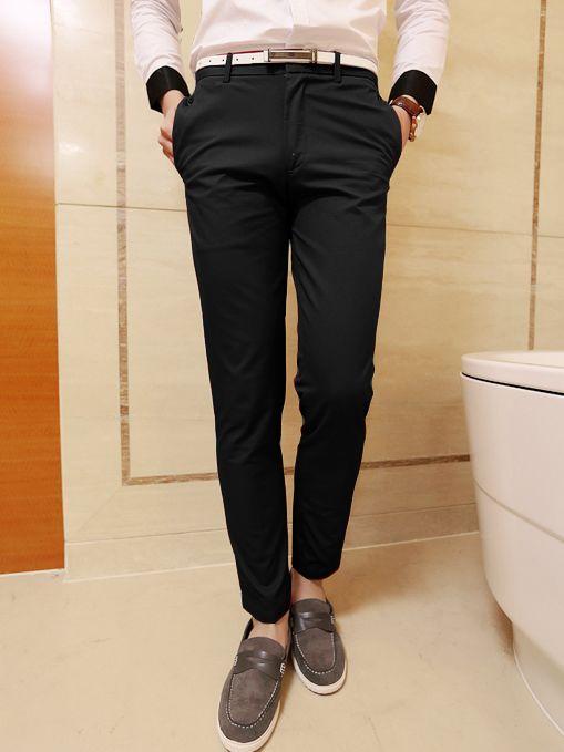 Summer Men Fashion Fitted Black Zipper Long Pocket Pants