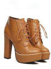 Lady Fashion Lace up Side Zipper Short Boots