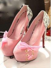 Romantic Spring Bow Design Pink Stiletto Pumps