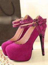 Modern Style Snake Pattern Buckle High Heel Shoes