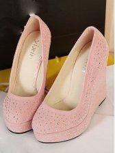 Women Stylish Round Toe Suede Wedge Shoes