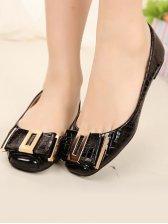 New Stylish Square Toe Snake Flat Shoes