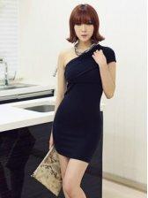Charming Lady Multi-way Wrap Black Mini Dress